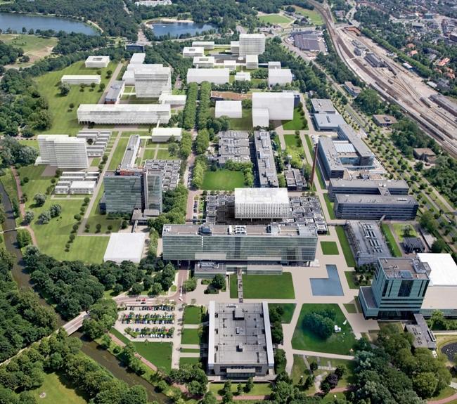 Oversiktsbilde over vitenskapsparken ved Technische Universiteit van Eindhoven
