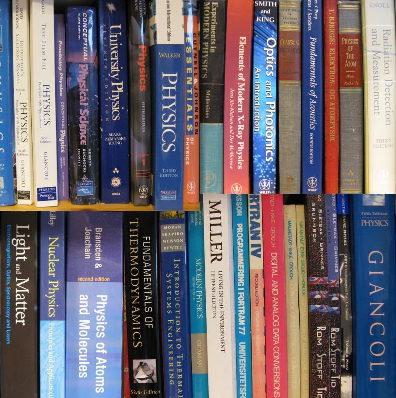 Et utvalg av fysikkbøker fra et kontor på Institutt for fysikk og teknologi.