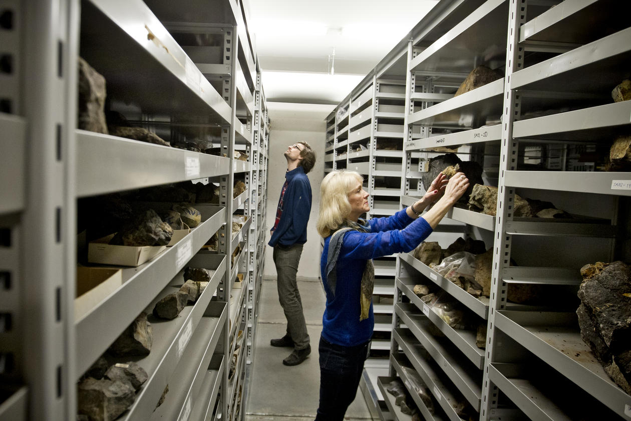 IN THE ARCHIVE: Professor Ingunn Thorseth gets help from researcher Håkon Dahle (at the back) in cataloguing the collected rock samples.