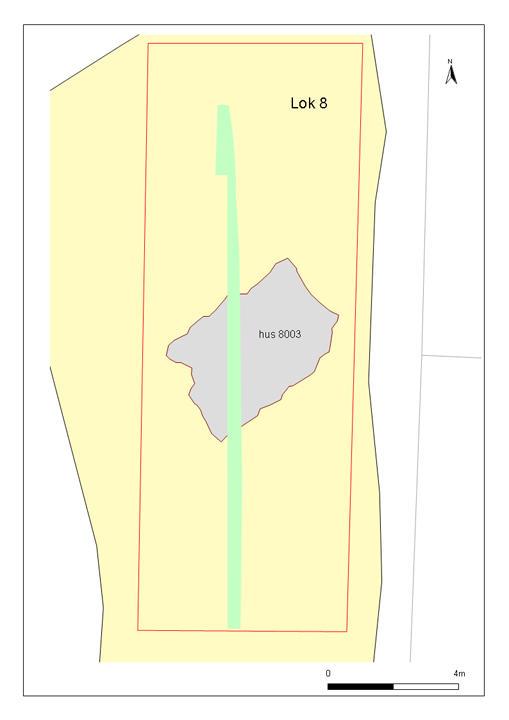Sentralt på lokaliteten ligger har vi avdekt en rektangulær svakt nedgravd...