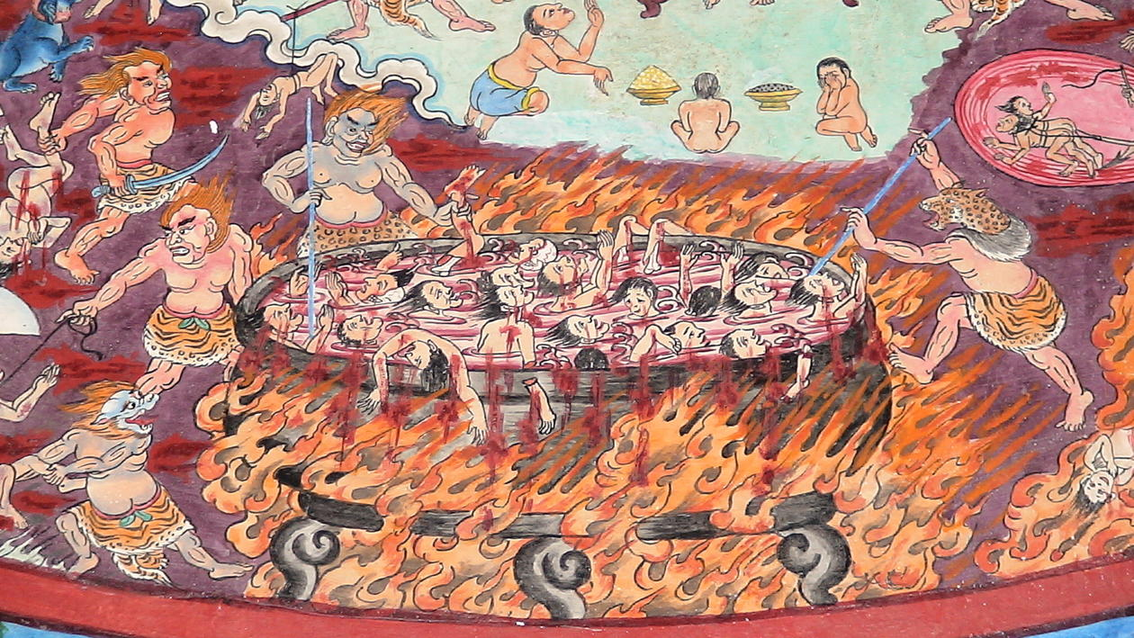 A DEMONIC BATH: In this Buddhist version, hell is a hot place where people...