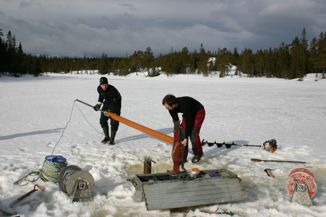 Coring on a frozen lake