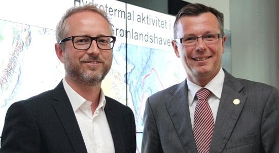 New UiB leader Dag Rune Olsen was visited by Environment Minister Bård Vegard...