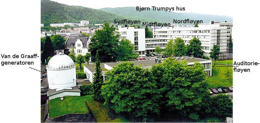 Oversikt over Institutt for fysikk og teknologi der ein ser hovudbygget Bjørn...