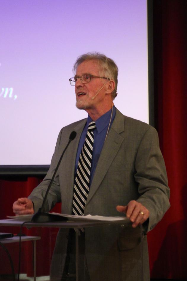 Gudmund Hernes var hovedtaler under møtet om universitetsaulaen i februar.