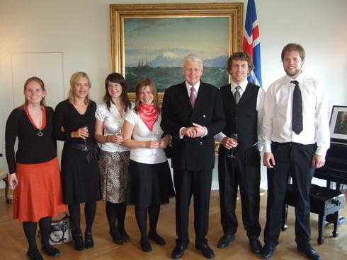 Students from GFI visiting the president of Iceland, Olafur Ragnar Grimsson,...