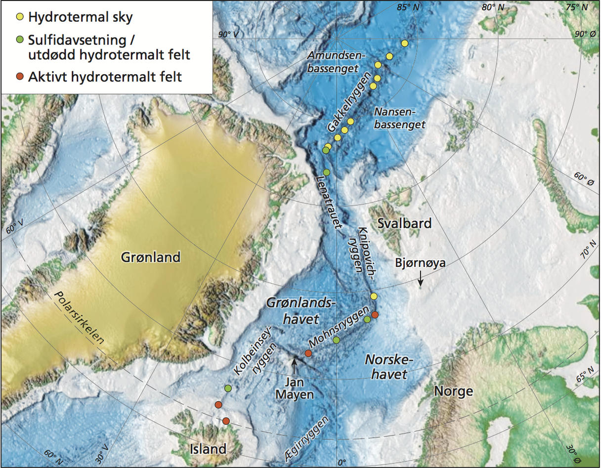 Dette kartet viser de ulike varmekildene som er funnet på norsk område.