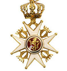 Medal awarded to Knight, First Class, Order of St Olav.