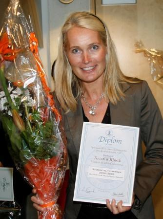 Kristin Klock fikk studiekvalitetsprisen for arbeidet med praksisstudiet i...