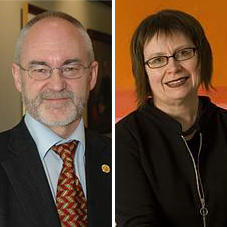 Rector Sigmund Grønmo and Kari Tove Elvbakken, University Director.