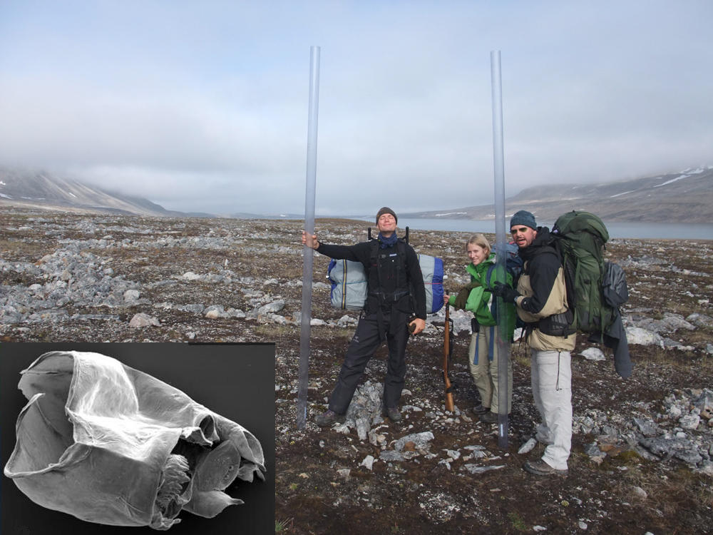 Off to collect midges on Spitsbergen. Inset: Micropsectra sp. head capsule
