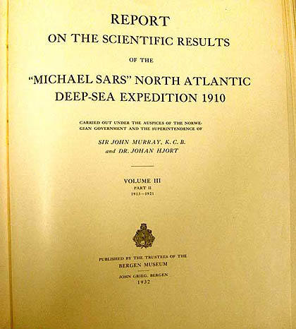 One of Bergen Museum's reports from the Michael Sars Expedition.