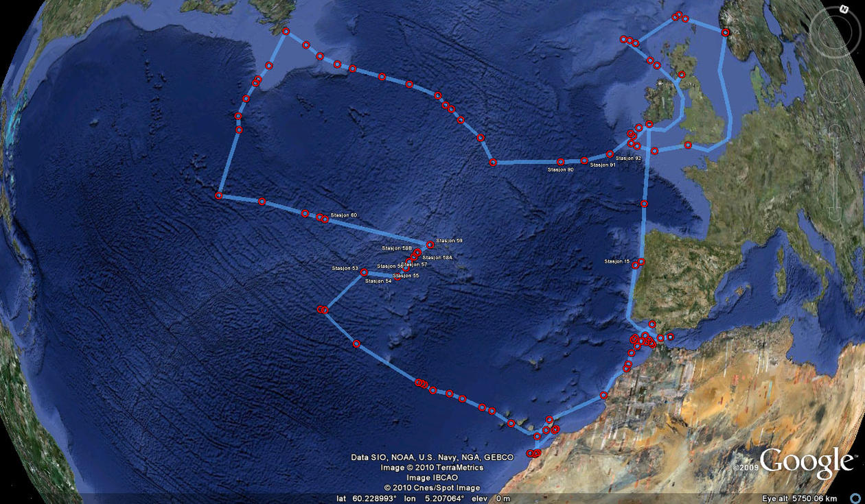 "The cruise track of  SS ""Michael Sars"" with biological sampling Stations 1..."