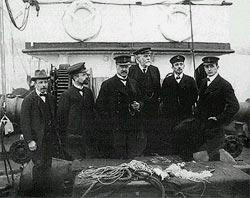 "The research group on the deck of ""Michael Sars"", 1910. From left: Einar..."