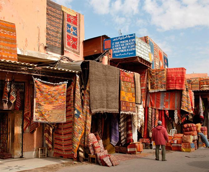 Marked i Asia med tepper