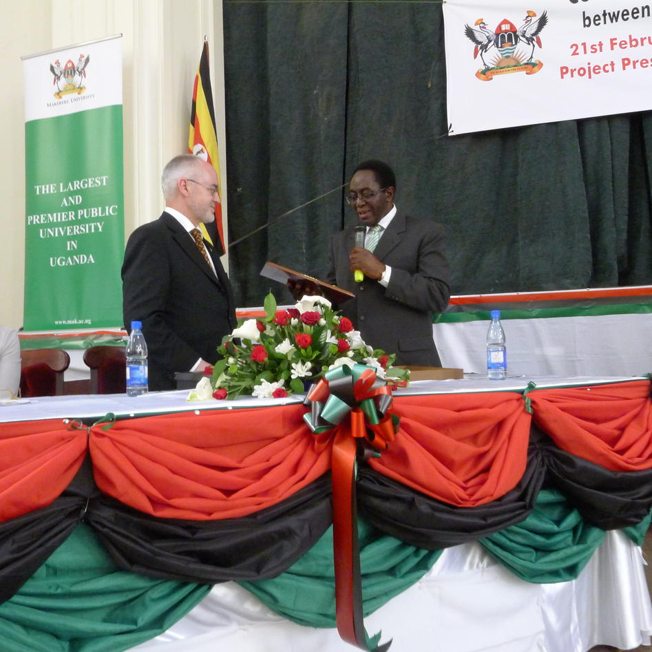 Vice Chancellor John Ddumba-Ssentamu and Rector Sigmund Grønmo presented each...