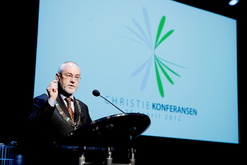 Rektor Sigmund Grønmo på Christiekonferansen.