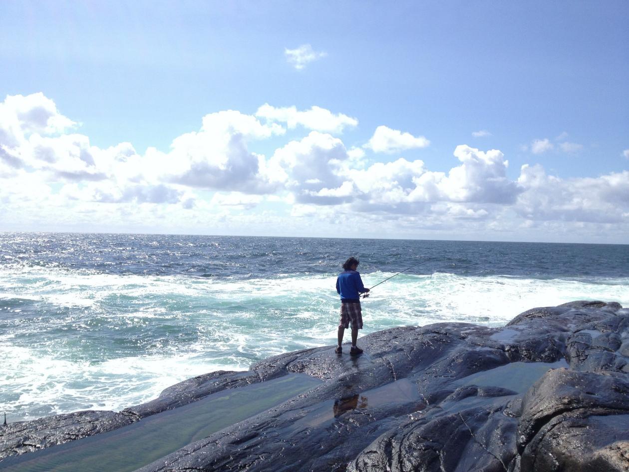 Piero fishing at Golten outside Bergen