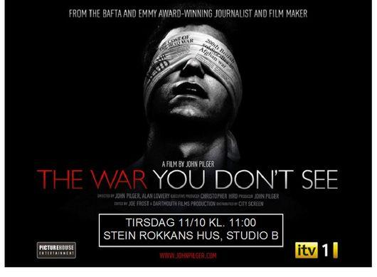 """Movie poster of John Pilger's film """"The war you don't see"""