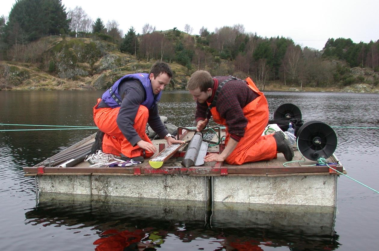 Coring an isolation basin, Western Norway.
