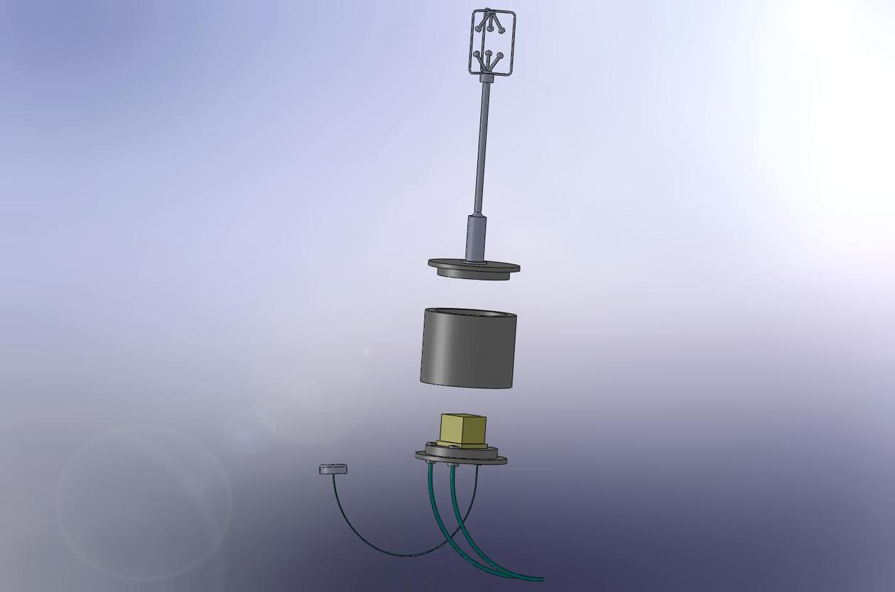 Schematic picture of the sensor head consisting the sonic anemometer and...