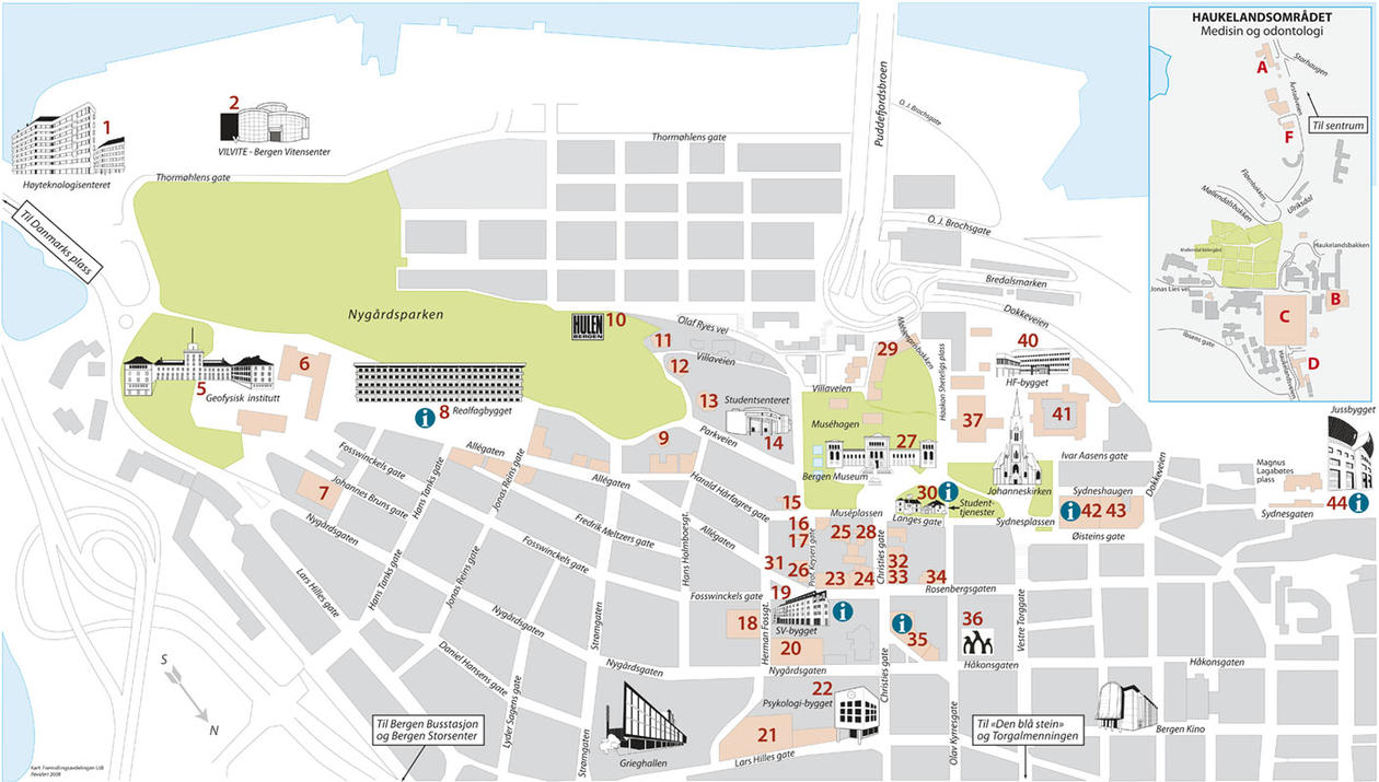 Map of main campus area.