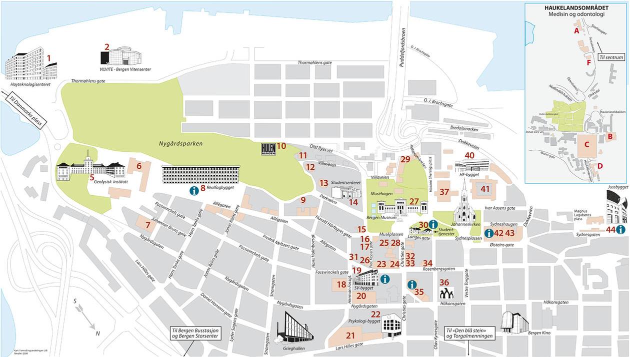 Utsnitt av hovedkartet med bygninger som er knyttet til UiB.