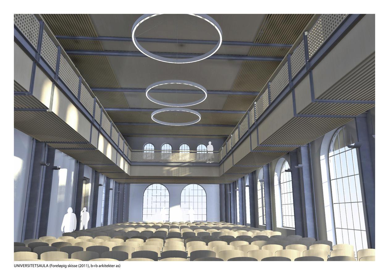 Arkitektenes illustrasjon av hvordan aulaen kan se ut.