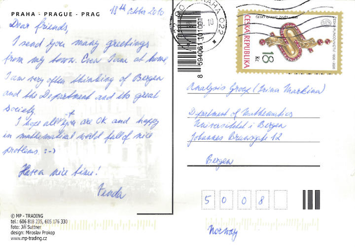 Former students greetings from prague analysis and pde in the greetings card written in her recognizable handwriting she says that she often remembers people in the department of mathematics and wishes us m4hsunfo
