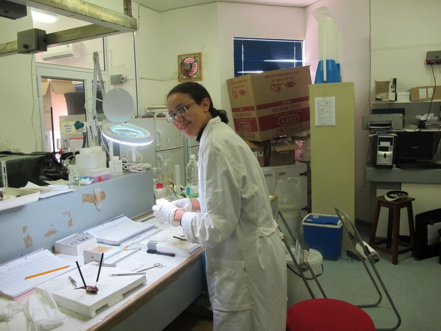 Yusra Taha on field work where she sampled gobies in the lab of National...
