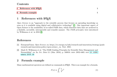 Latex example document. Numeric references with biblatex.