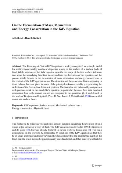 Ali and Kalisch, Acta Applicandae Mathematicae, 2014