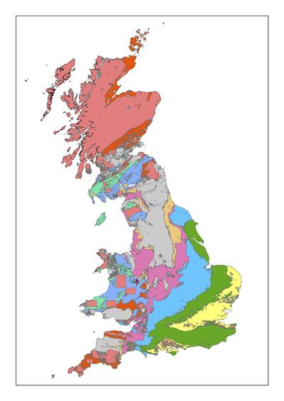 A map showing the geology of Great Britain spanning the past 550 million years.