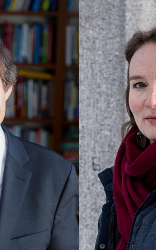 Årets holbergprisvinner Cass Sunstein og Nils Klim-prisvinner Francesca R. Jensenius