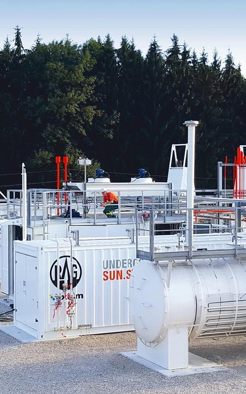 I prosjektet «Underground Sun Storage» ble hydrogen laget av solkraft lagret i et naturlig reservoar i Østerrike. I et lignende forskningsprosjekt i Argentina, ble elektrisitet fra vindkraft spaltet til hydrogen og lagret i et gassreservoar. Foto: RAG