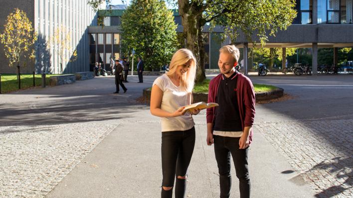 To studentar ser i ei bok utanfor HF-bygget. Det står eit tre i bakgrunnen.