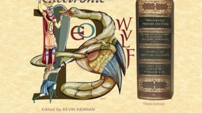 Bilde av illustrerte B-initial ved siden av Beowulf edisjon