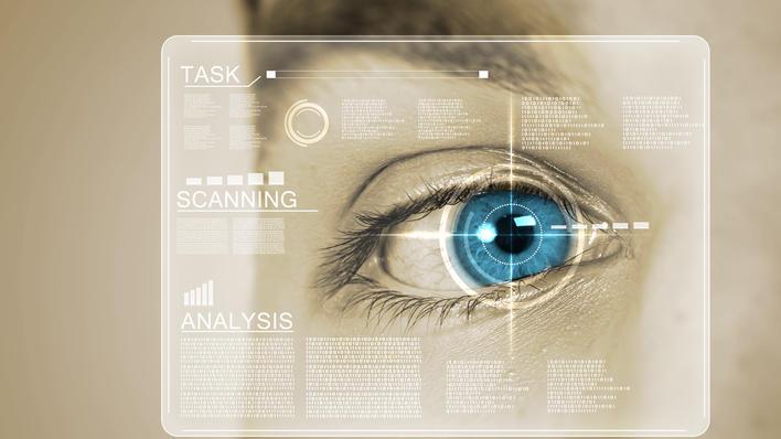 Bilde av et øye som illustrerer biometri.