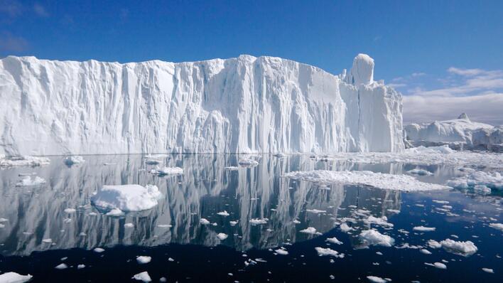 Illustrasjonsfoto fra Ilulissat–fjorden på Grønland, brukt for å illustrere sak om at professor Noel Keenlyside har fått Consolidator Grant fra Det europeiske forskningsrådet.