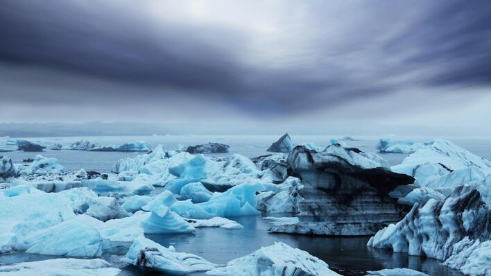 Isfjell som smelter