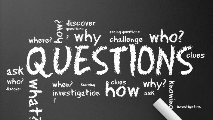 En tavle med masse spørsmål