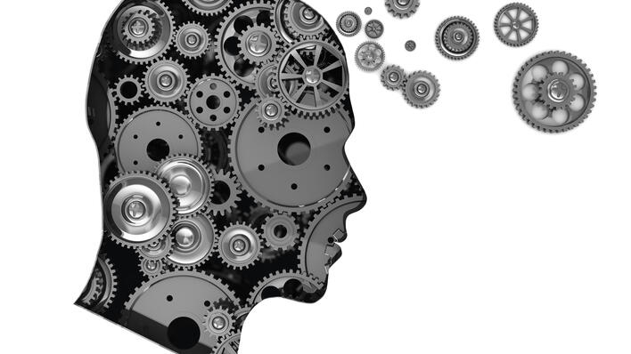 Graphic of head composed of cogwheels, used to illustrate text about innovation in research.