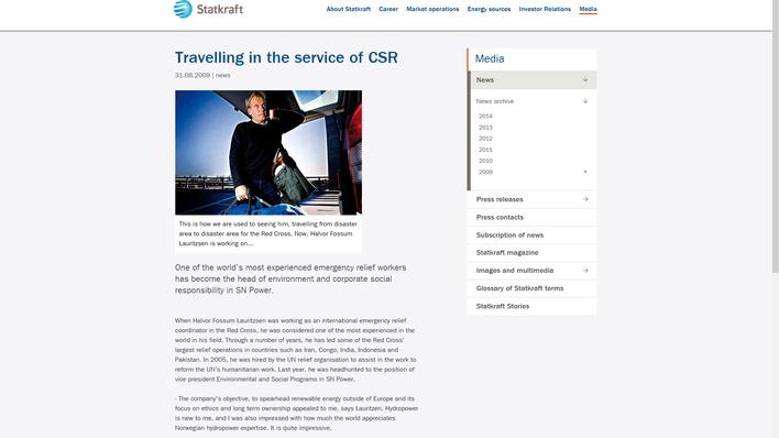 Bildet er fra Statkraft sin nettside med nyhetssaken Travelling in the service of CSR