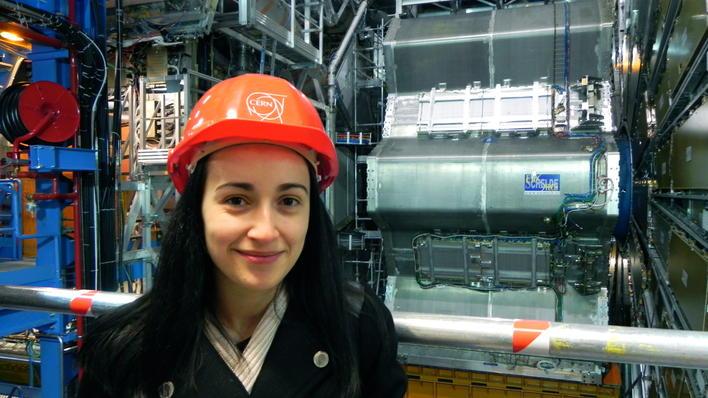 Angela Gligoraova in front of ATLAS detector