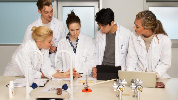 Konsentrerte studentar på labben