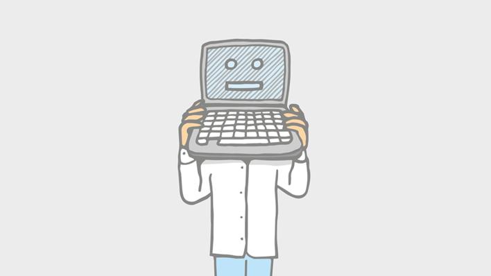 Tegning av en mann med laptop på hodet