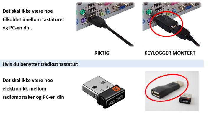 Keylogger koblet til PC