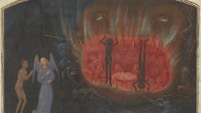 illustrasjon av visjons reise gjennom helvete, fransk håndskrift fra 1400-tallet