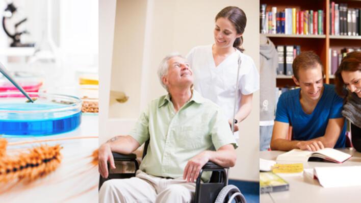 Samansetning av tre bilete: to studentar som les saman på biblioteket, ei kvinne i helseuniform som trillar ein eldre mann i rullestol og eit bilete av petriskål på laboratoriet.
