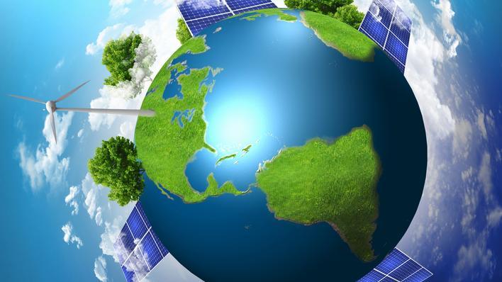 blå klode med vindmøller og solceller